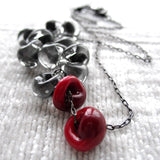 Dark Blood Red and Gray Glass Drop Necklace