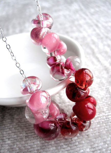SWEETHEART - Ombre Red & Pink Glass Drop Necklace