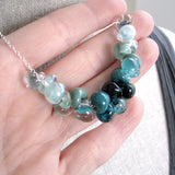 Teal Green Ombre Glass Drop Necklace