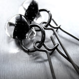 Black Ink Glass Drop Earrings