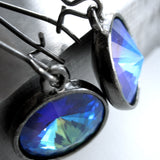 Indigo Ghost - Blue Swarovski Crystal Rivoli Earrings
