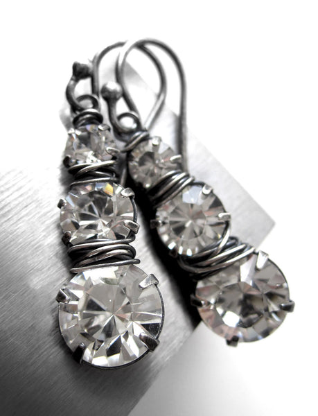 IRREVERANT JOURNEY - Faux Diamond Earrings with Crystal Trio