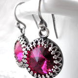 Magenta Swarovski Crystal Rivoli Earrings with Vintage Style Crown Bezels
