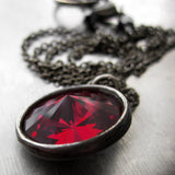 Small Blood Red Swarovski Crystal Necklace