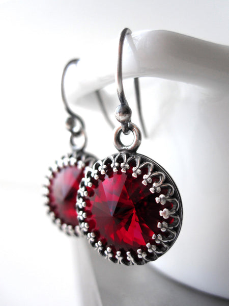 Red Swarovski Crystal Rivoli Earrings with Vintage Style Crown Bezels