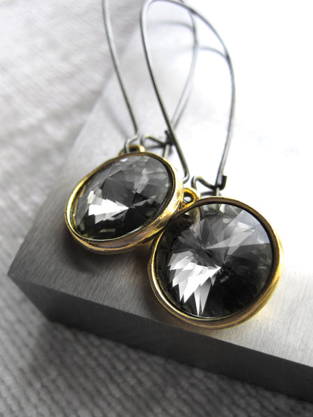 Black Night Swarovski Crystal Rivoli Earrings with Gold Bezels