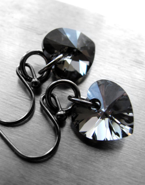 Tough Love - Swarovski Crystal Black Heart Earrings