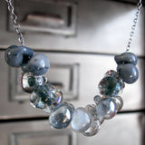 Ombre Blue Rain Cloud Necklace with Oxidized Sterling Silver