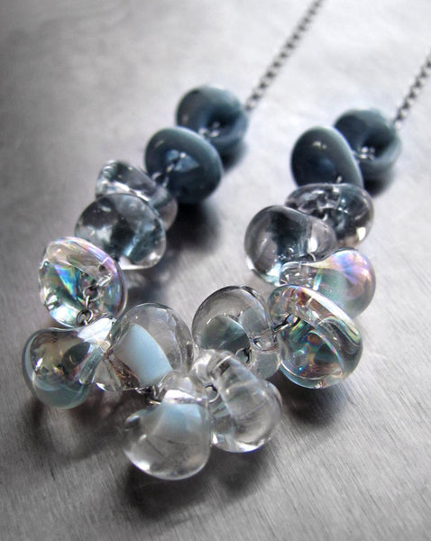 Ombre Blue Rain Cloud Necklace with Gradient Glass Drops