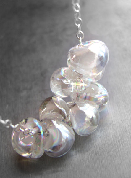 Iridescent Bubbles with White Wisps Glass Drop Necklace