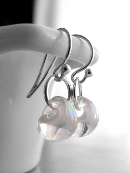 Small Iridescent Bubble Glass Earrings with Silver