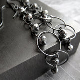 SILVER RAIN - Oxidized Sterling Silver Circle Chain Earrings