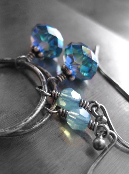 UNION - Aqua Swarovski Crystal Circle Hoop Earrings