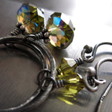 Union - Olive Green Swarovski Crystal Hoop Earrings