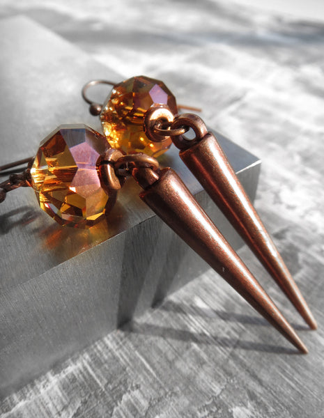 Copper Tone Spike Earrings with Rust Orange Swarovski Crystal