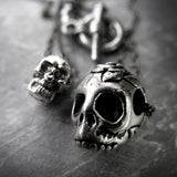 Tiny Silver Skull Pendant Necklaces - 2 Sizes