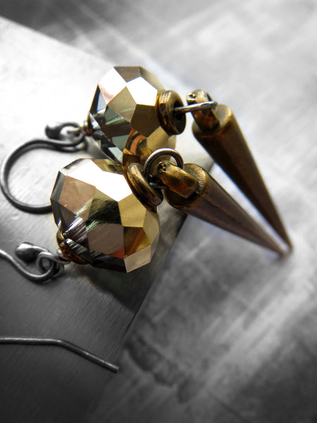 GILDED DAGGER - Antiqued Brass Spike Earrings with Crystal