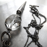 Long Metallic Spike Necklace - Dark Silver or Gunmetal Black
