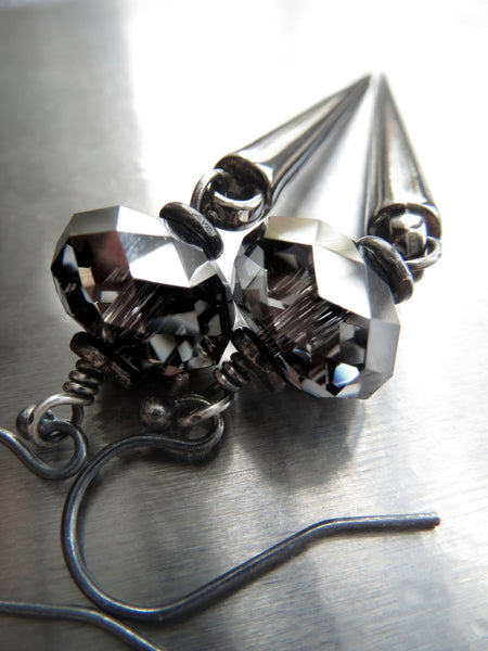 Black Spike Earrings with Swarovski Crystal