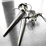 Silver Spike Earrings with Swarovski Crystal