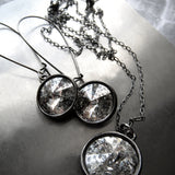 DISTRESSED - Swarovski Silver Patina Crystal Rivoli Necklace