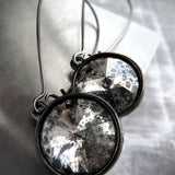 MERCURY - Swarovski Silver Patina Rivoli Crystal Earrings