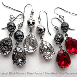Gothic Silver Skull Earrings with Swarovski Crystal Teardrops
