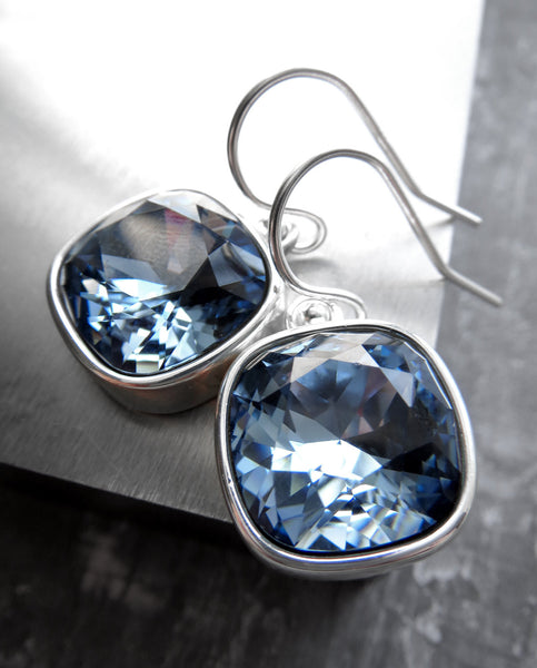 Blue Swarovski Crystal Earrings with Silver