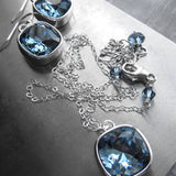 Blue Swarovski Crystal Necklace with Silver