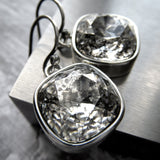 DISTRESSED - Swarovski Silver Patina Crystal Earrings