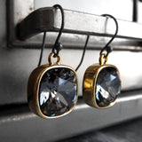 Black Night Swarovski Crystal Earrings with Gold Bezels