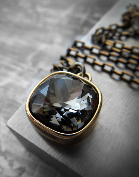 Black Night Swarovski Crystal Necklace with Gold Square Pendant