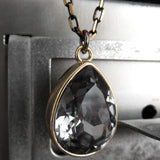 Black Night Crystal Teardrop Necklace with Gold Bezel