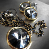 Black Night Swarovski Crystal Rivoli Necklace with Gold Bezel