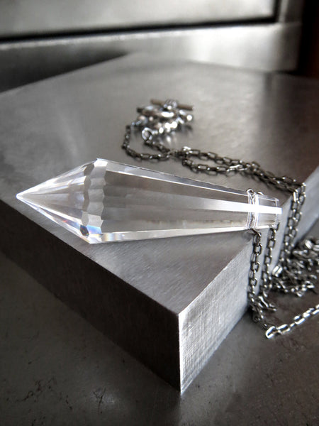 Minimalist Clear Crystal Spike Necklace