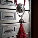 Ceramic Buddha Necklace with Red Silk Tassel