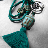 Buddha Tassel Necklace, Teal Green Tassel with Silk Cord, Silver OM Necklace, Hindu Jewelry, Buddha Buddhist Jewelry, Boho Yoga Jewelry