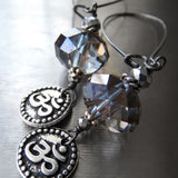 Silver OM Earrings with Crystal