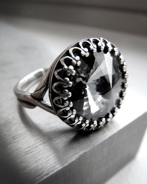 Black Midnight Swarovski Crystal Rivoli Ring with Crown Bezel