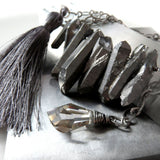 ASYMMETRY - Rough Cut Titanium Quartz, Silk Tassel & Crystal Necklace
