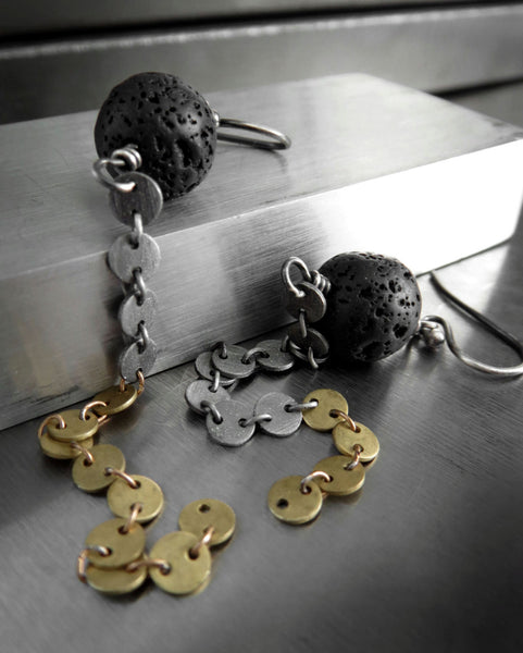 Long Asymmetrical Earrings with Lava Rock & Mixed Metal Chain