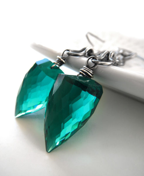 Bullet - Emerald Green Earrings with Oxidized Chain