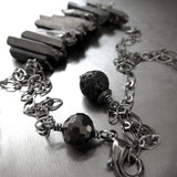 Gunmetal Black Rough-Cut Quartz Spike Necklace