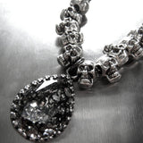 Gothic Silver Skull Necklace with Swarovski Crystal Teardrop