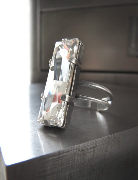 Modern Architectural Swarovski Crystal Ring with Clear Baguette