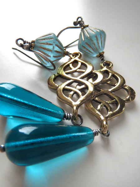 Long Gold Scroll Earrings with Aqua Glass Teadrops