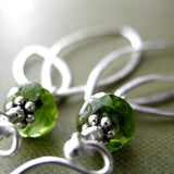 Green Vessonite Gemstone Earrings with Sterling Silver Leaves