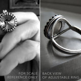 ROYAL - Clear Swarovski Crystal Rivoli Ring - Vintage Style Antiqued Silver Crown