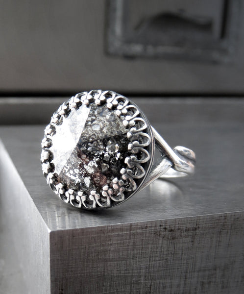 Black Patina Swarovski Crystal Rivoli Ring