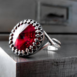 Red Swarovski Crystal Rivoli Ring with Vintage Style Crown Bezel